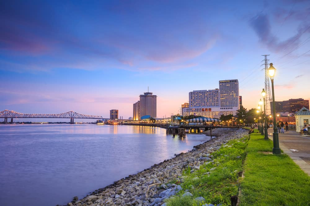 Sunset along the Mississippi river in New Orleans