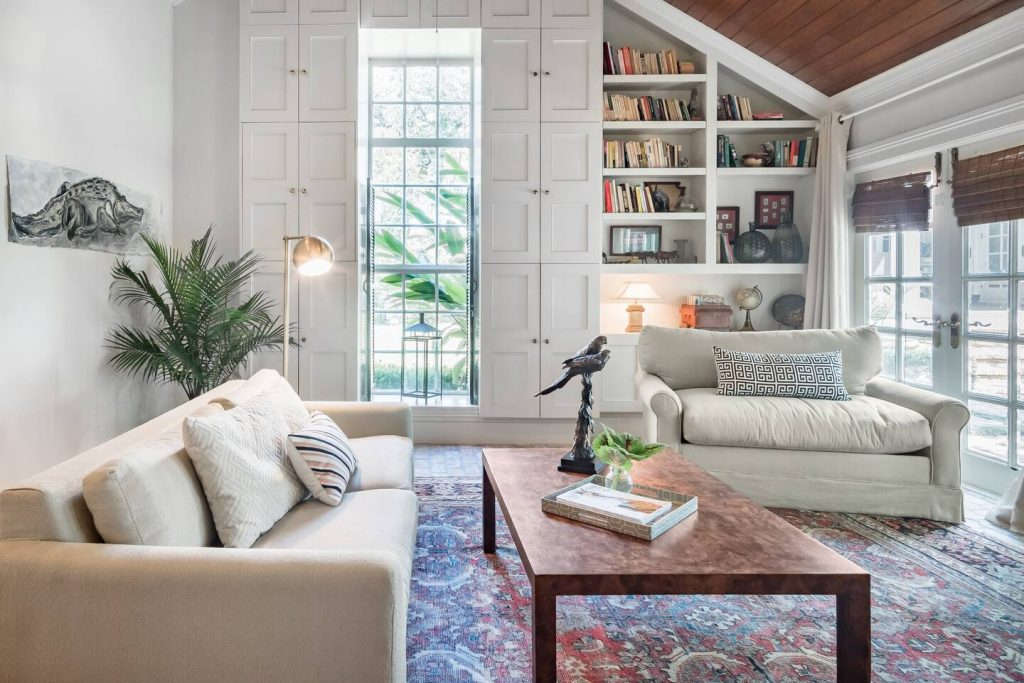 Photo of the living room inside an uptown garden studio Airbnb in New Orleans.