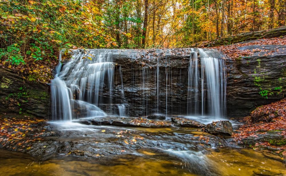 A beautiful waterfall and fall foliage in South Carolina.