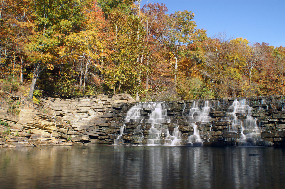 Devil's Den State Park features this pretty waterfall, a great place in Arkansas for fall foliage.
