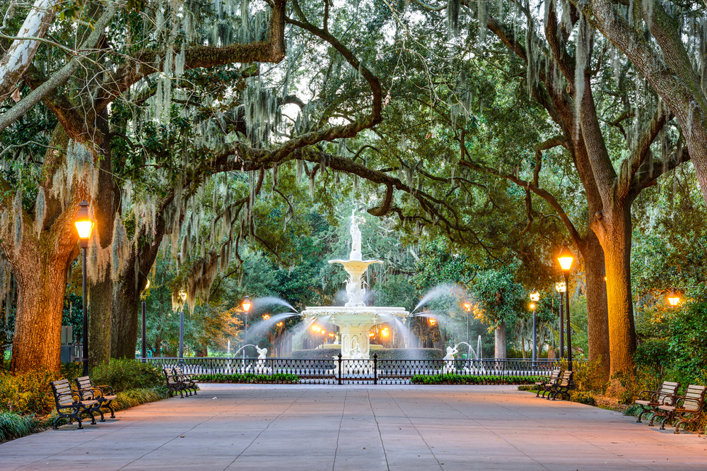 Photo of a historic fountain in Savannah Georgia