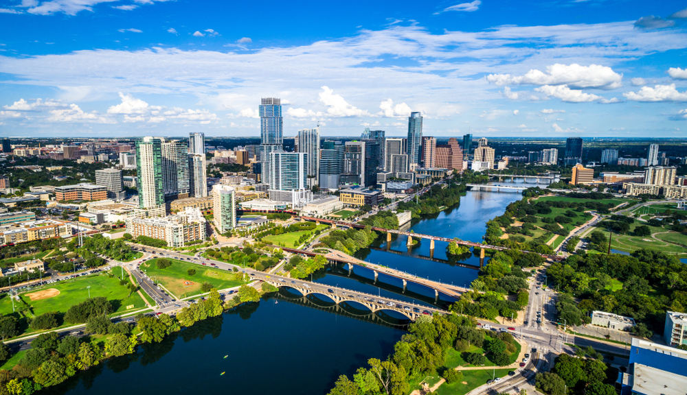 Skyline of Austin, Texas, a great place to visit in the South
