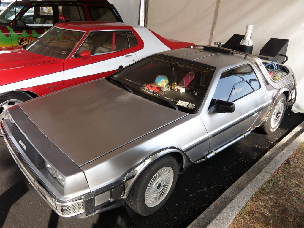 Photo of a Delorean, a car made very popular by the Back to the Future movie trilogy.