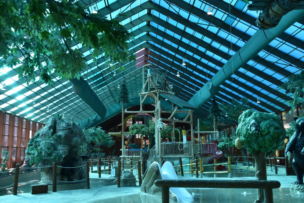 Photo of the inside of Wild Bears Falls Water Park in Gatlinburg. One of the great things to do in Gatlinburg come rain or shine.