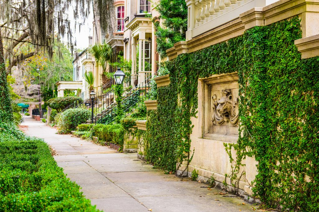 cute little photo of downtown savannah on your walk to breakfast