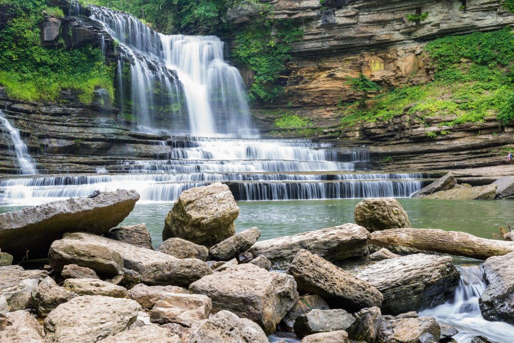 Photo of Cummins Falls, one of the best weekend getaways in the South.