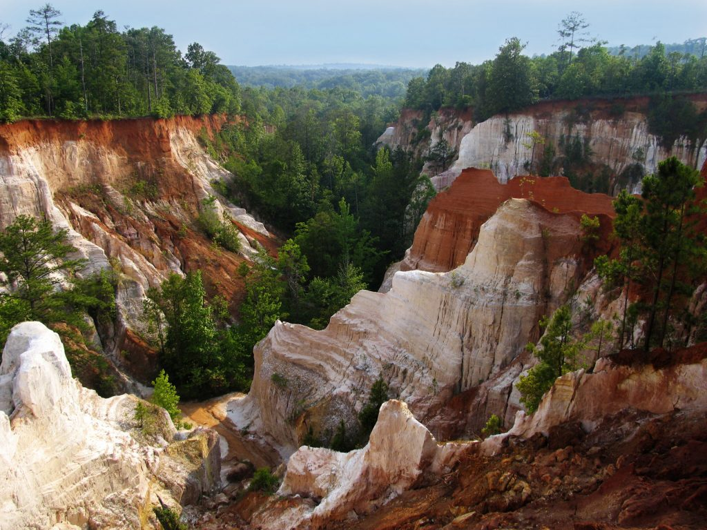 Photo of Providence Canyon in GA, one of the best weekend getaways in the South.