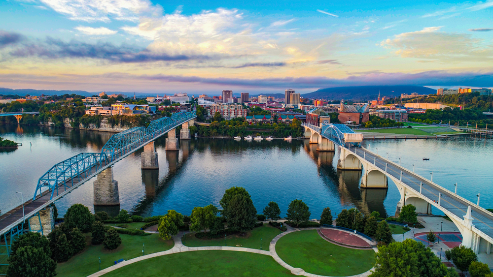 aerial view of two bridges across a river in Chattanooga