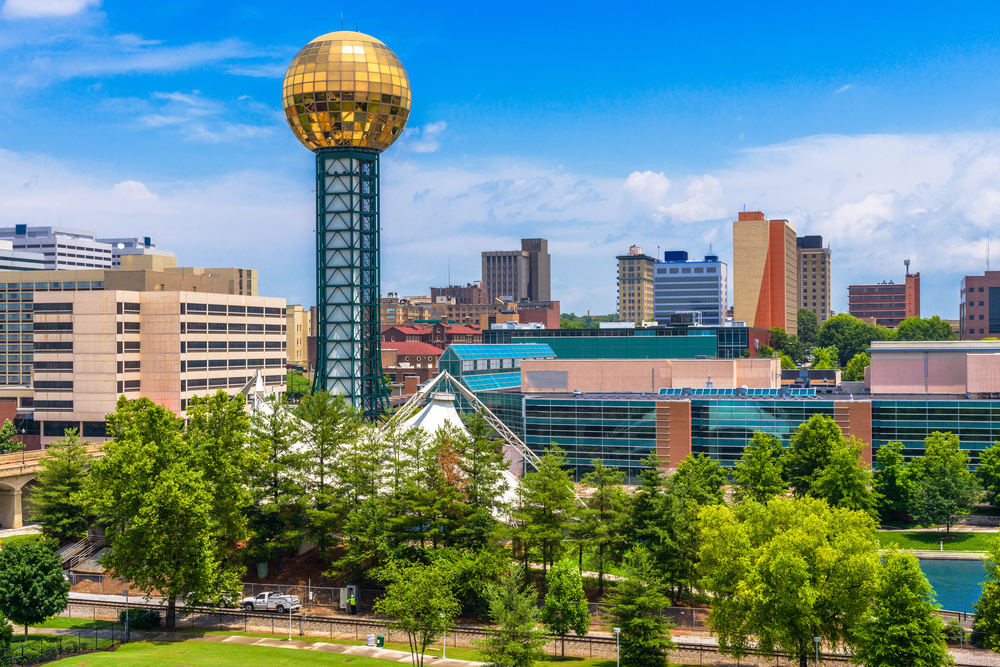 Knoxville skyline featuring iconic golden ball weekend getaways in Tennessee