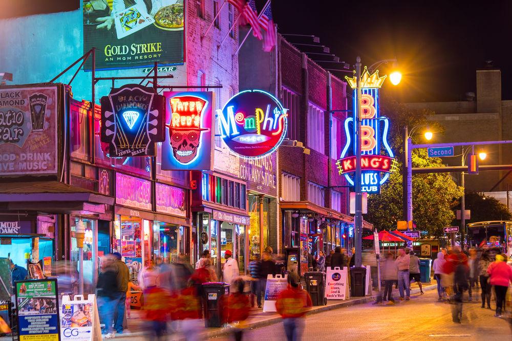 street bustling with nightlife in Nashville weekend getaways in Tennessee