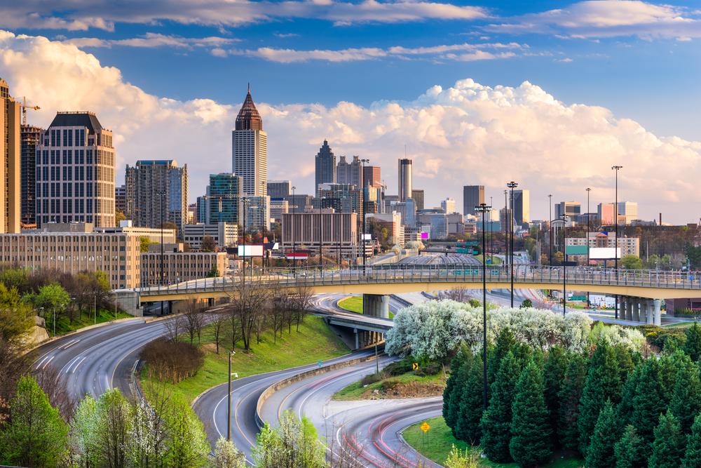 The Atlanta skyline on a sunny day