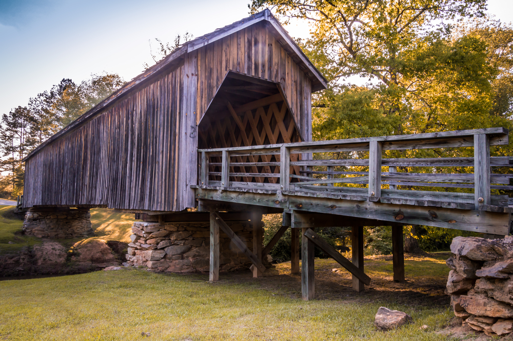 covered bridge is a great places to go on a georgia road trip