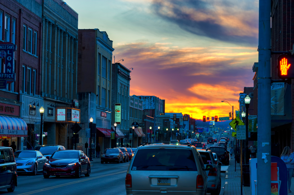 Bristol is one of the Appalachian towns in the Blue Ridge Mountains of Tennessee head