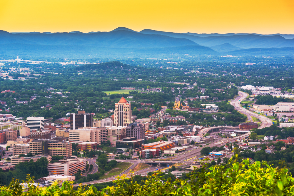 Roanoke is  of the best Virginia mountain towns in the Blue Ridge Mountains.