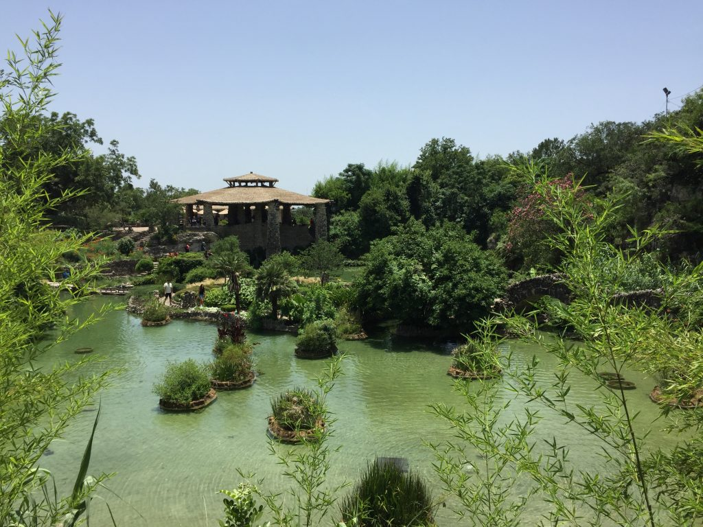 The lake in the middle of the San Antonio Botanical Garden.