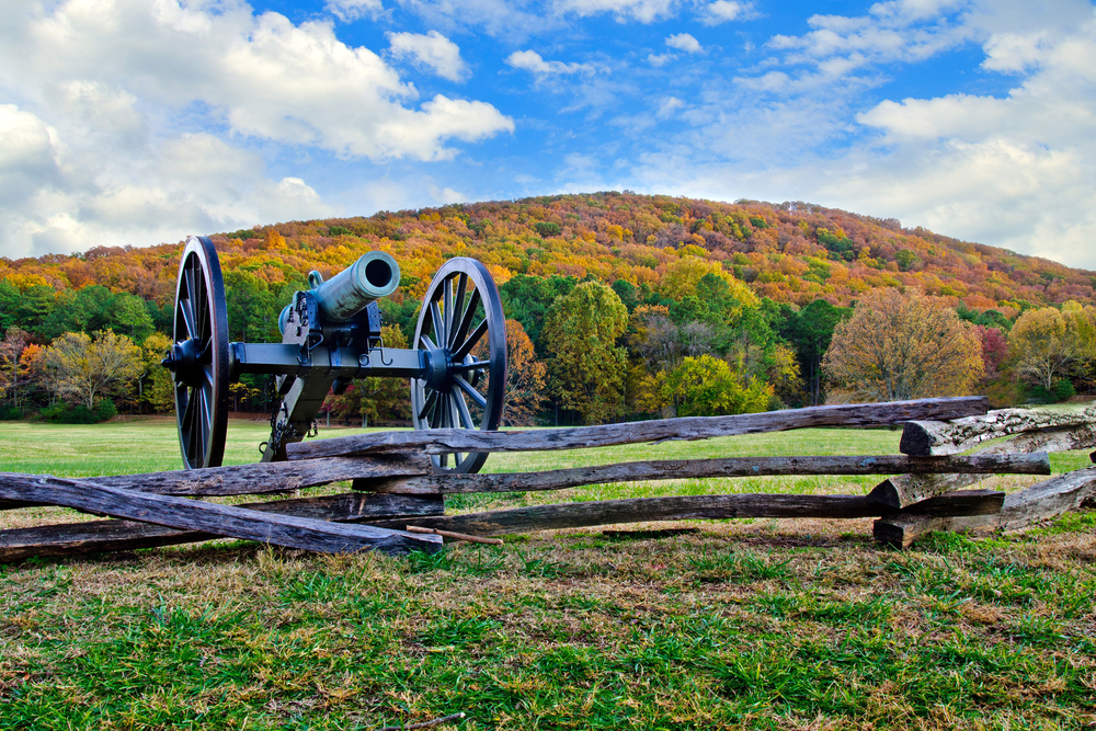 A cannon on a ridge at Kennesaw Mountain National Park in Georgia road trip