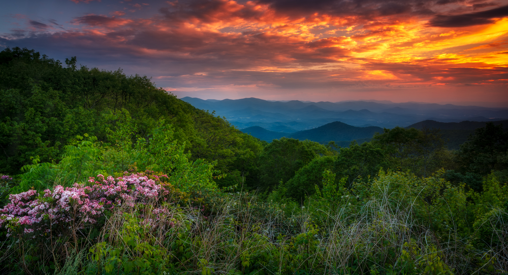 The North Georgia Mountains at Sunset in the summer