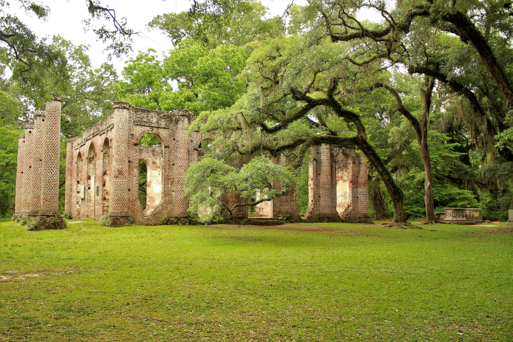 The Old Sheldon Church Ruins on a summer day surrounded by greenery one of the best South Carolina road trips