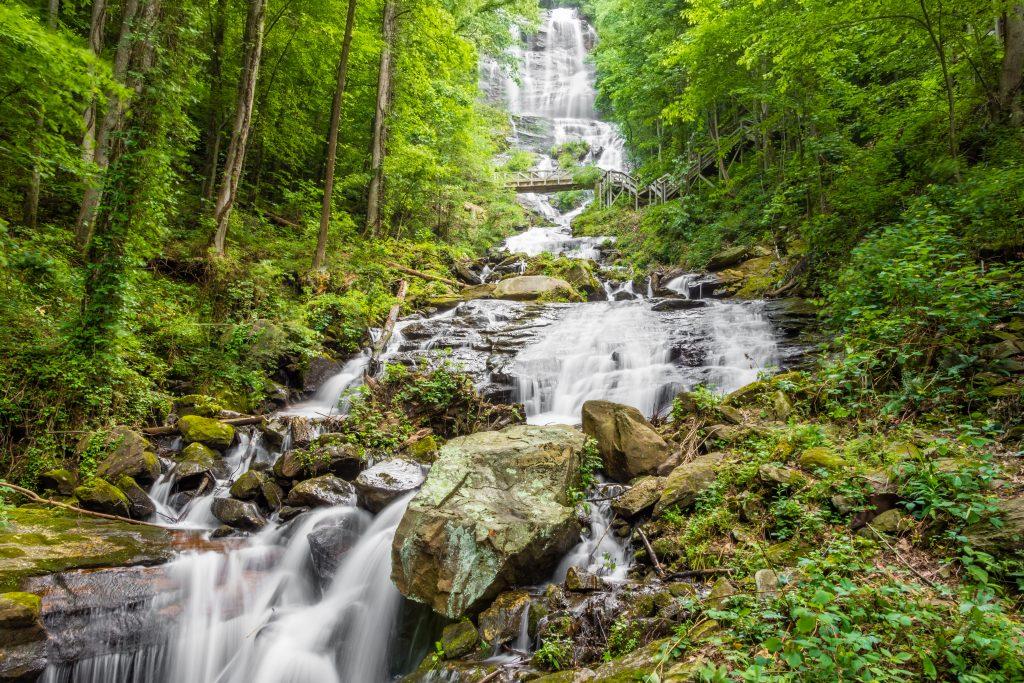 The base of Amicalola Falls.