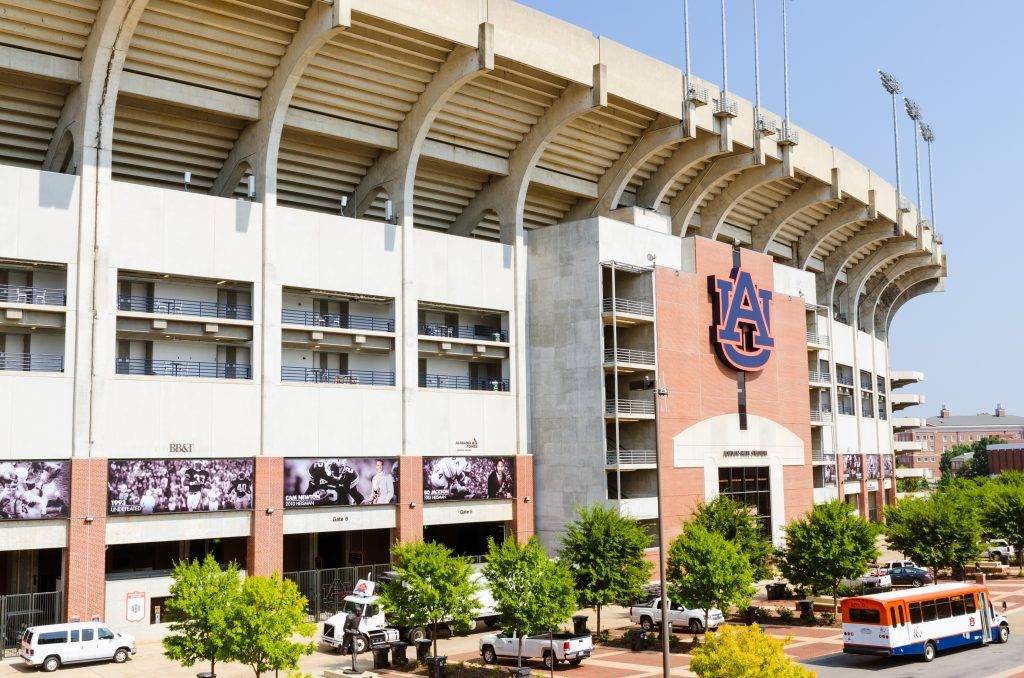 Jordan-Hare Stadium at the University of Auburn, a perfect stop on a deep south road trip.