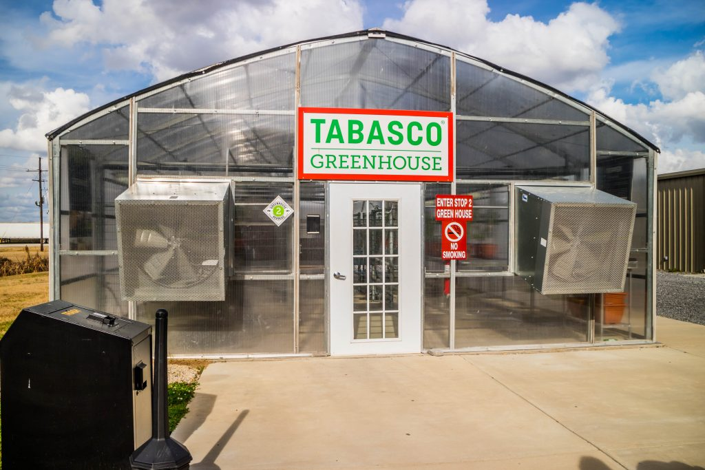 The greenhouse where peppers are grown in the Tabasco Museum.