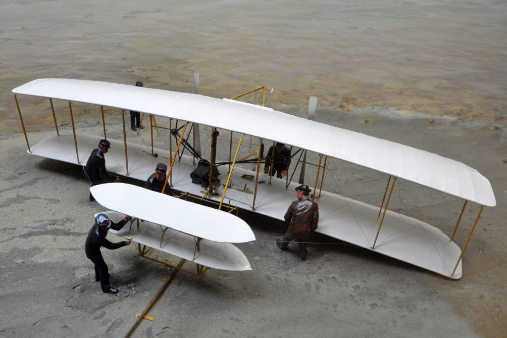 A replica of one of the Wright Brothers planes at the Wright Brothers Memorial Museum.
