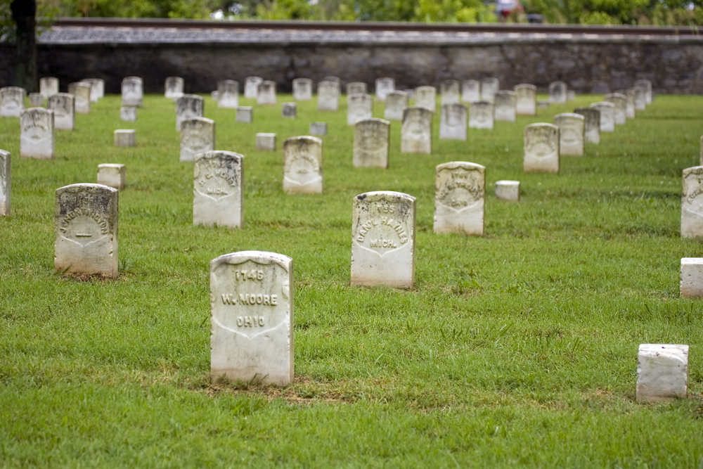 Tombstones at the Stones River National Battlefield one of the best stops on a haunted Tennessee road trip