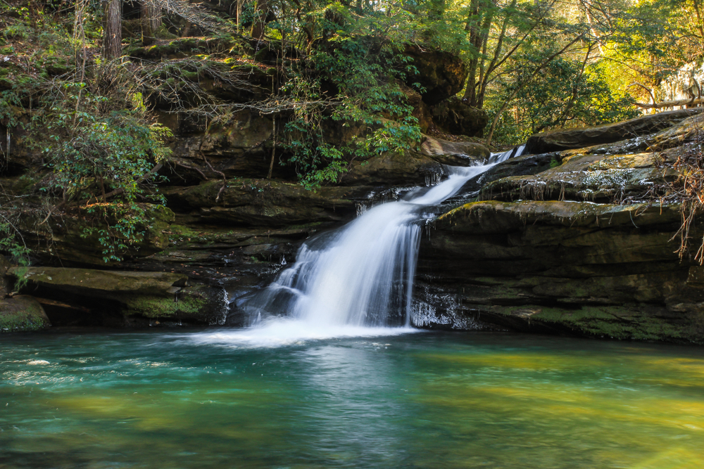A photo of Lower Caney Creek Falls in Bankhead National  Forest one of the best things to do in Alabama
