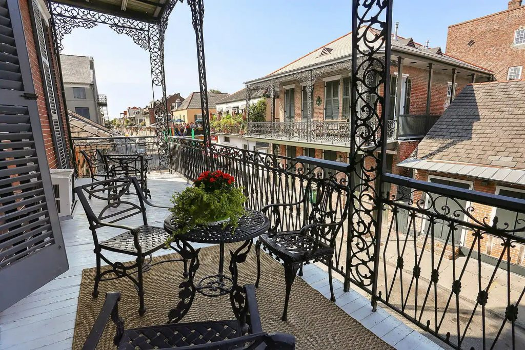 Photo of an over-sized balcony at a Victorian suite Airbnb in New Orleans.