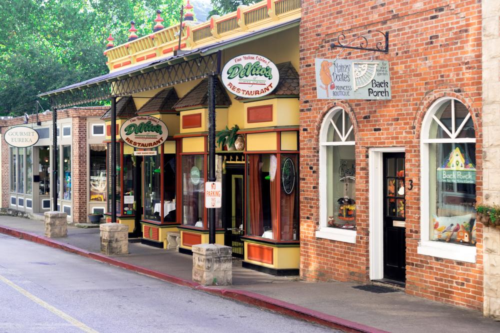 A strip of stores in Eureka Springs, Arkansas