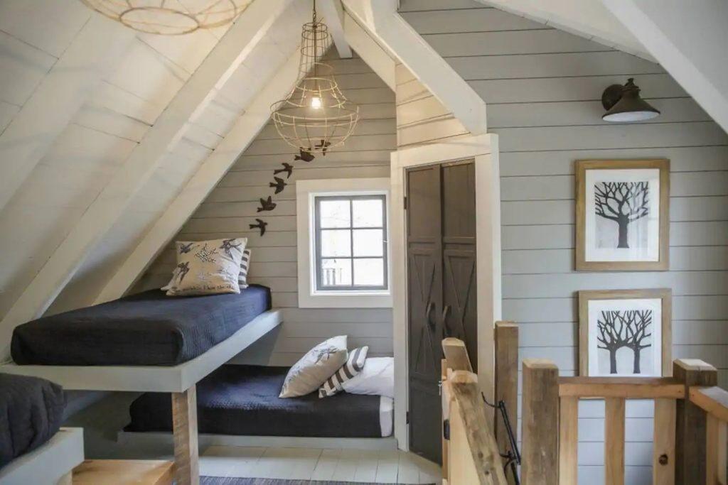 twin bunk beds in loft bedroom