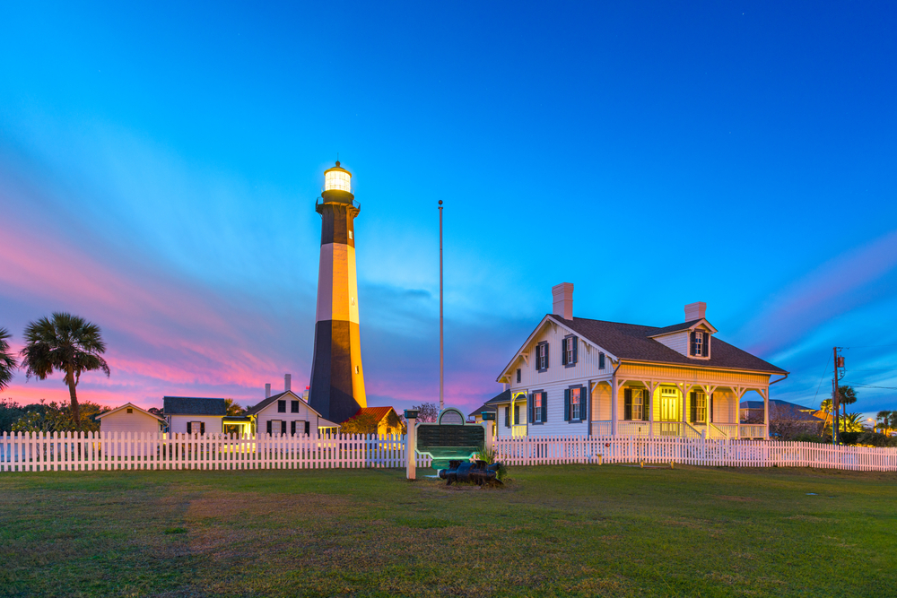The lighthouse on Tybee Island at sunset