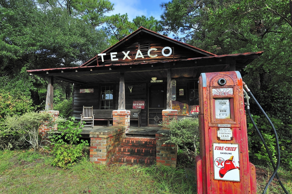An old Texaco gas station that was moved to Walterboro as part of the historic area