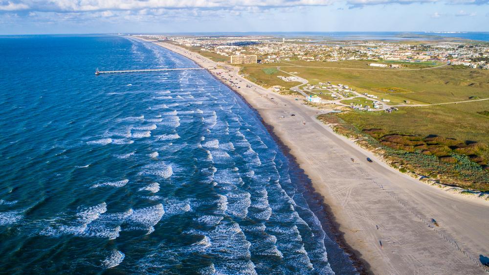 A photo overlooking Port Aransas Beach. On of the prettiest gulf coast beaches in Texas.
