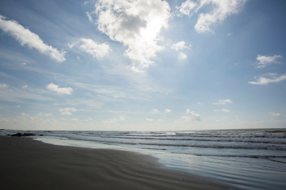 A photo of the ocean view on Surfside beach. One of the prettiest beaches in Texas.