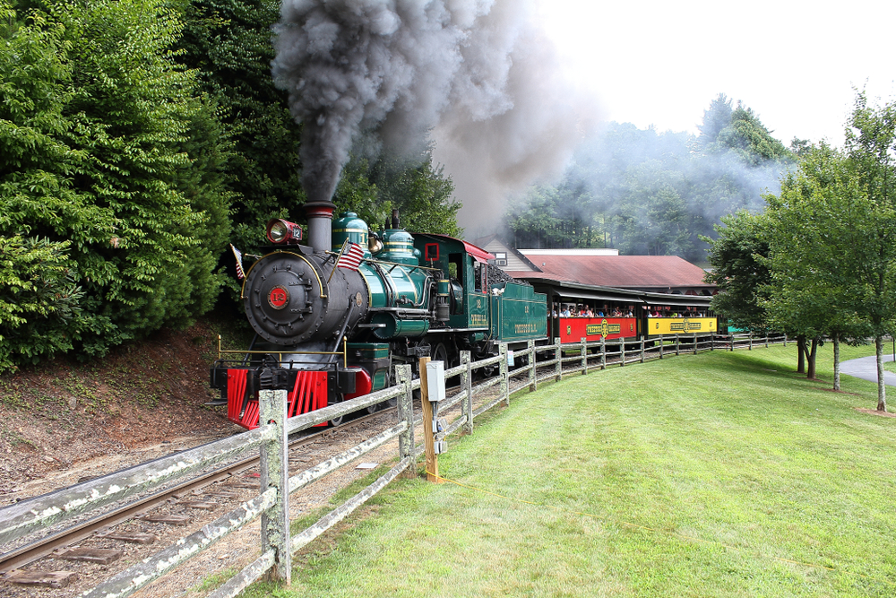 Riding the old train at the Tweetsie Railroad is a unique thing to do in North Carolina.