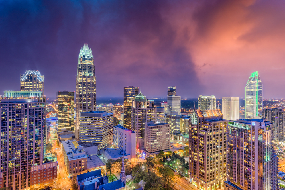 The Charlotte skyline is a sight to behold.
