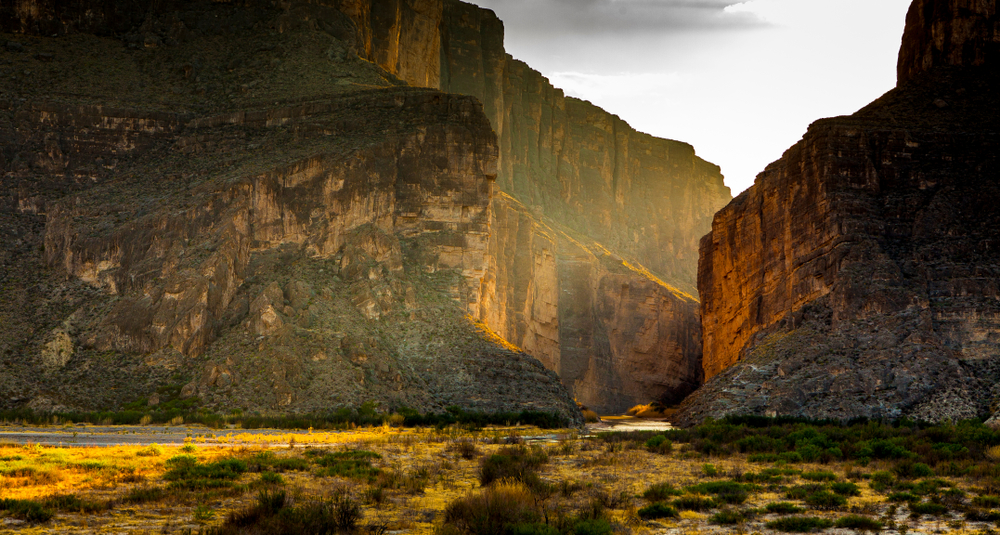 An evening view of Santa Elena Canyon in Big Bend National Park