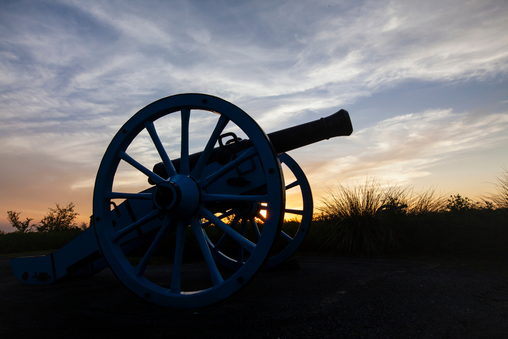 A canon at sunset on the Palo Alto Battlefield