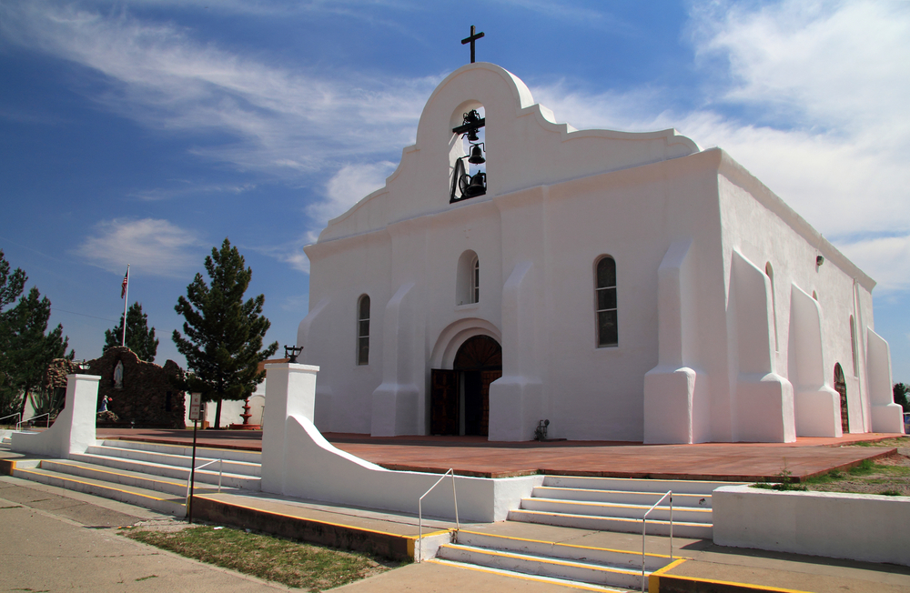 The front of the San Elizario Mission