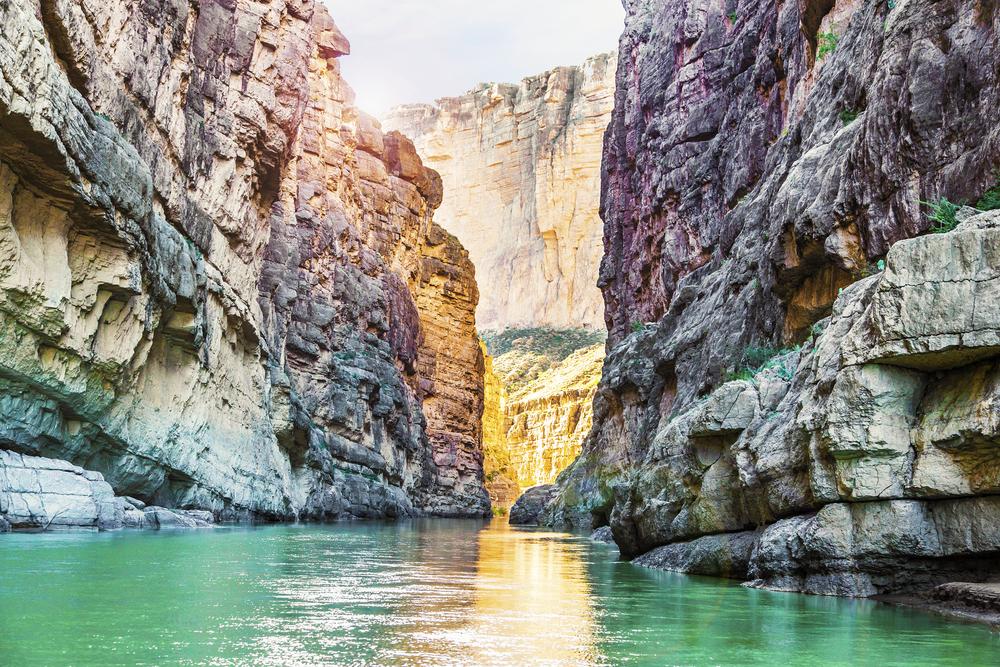 The steep canyon walls of Santa Elena Canyon in Big Bend National Park