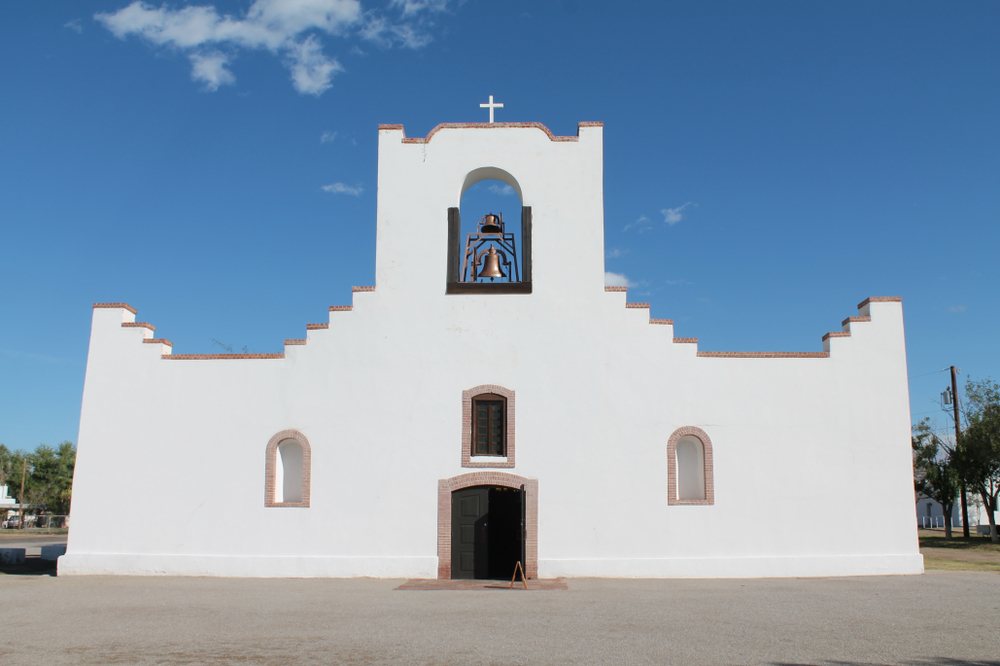 The geometric facade of Mission Socorro located along El Camino Real de la Tierra Adentro