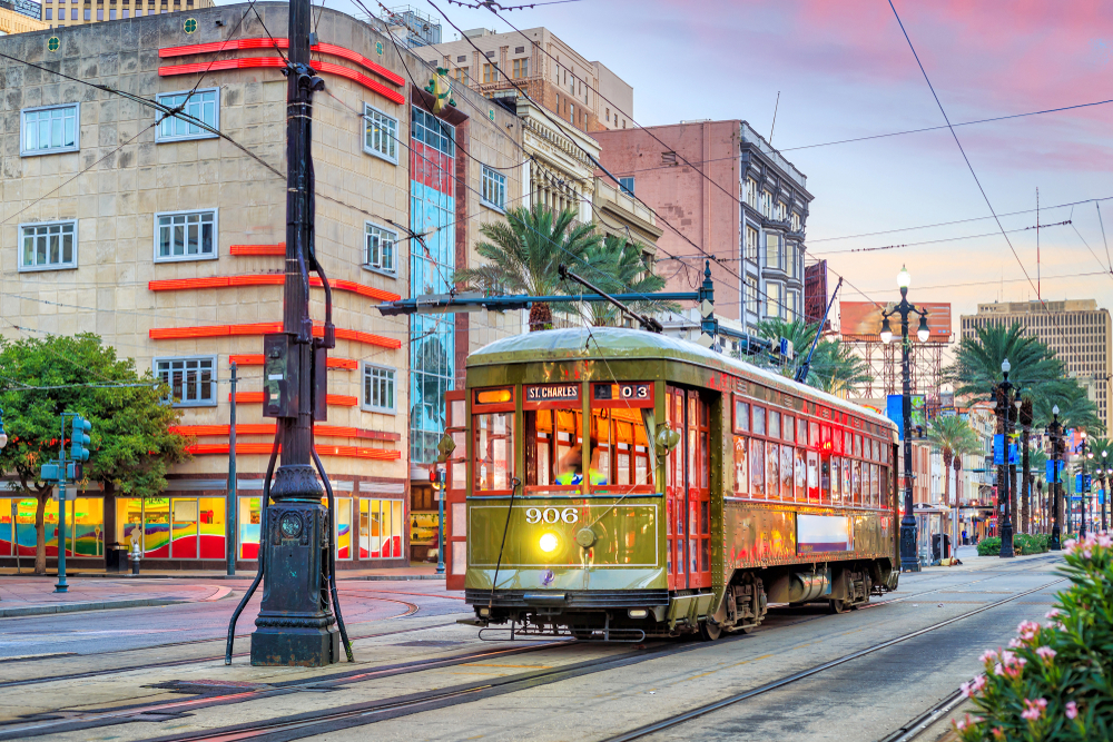 Ride a streetcar in New Orleans during a Louisiana weekend getaway.