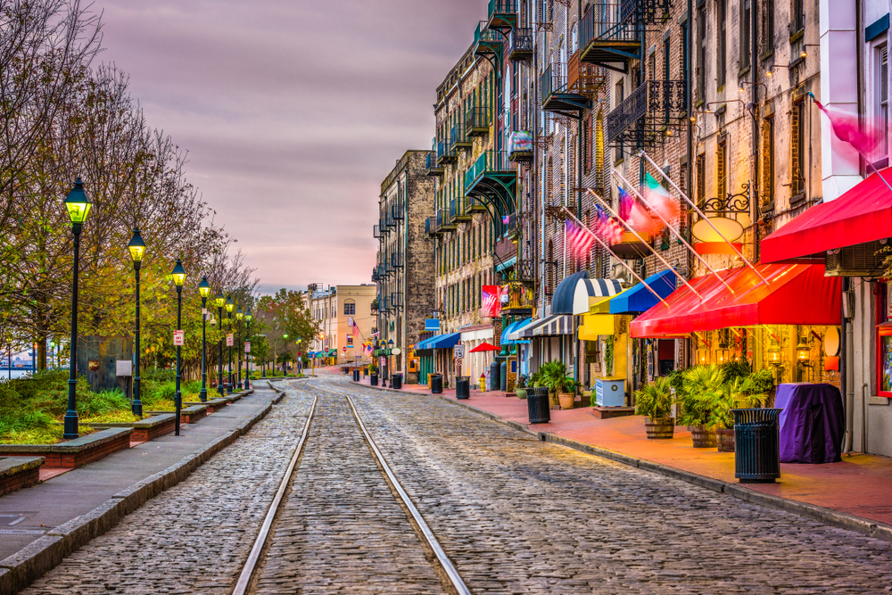 Photo of shops and restaurants in downtown Savannah Georgia.