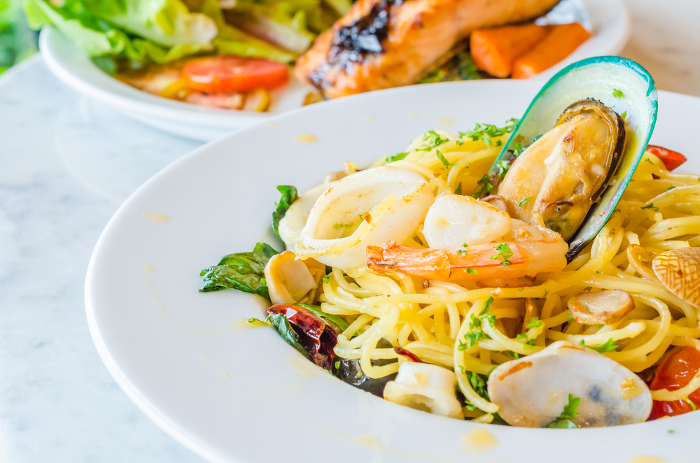 Photo of seafood pasta , a delicious dish to order at seafood restaurants in Savannah.