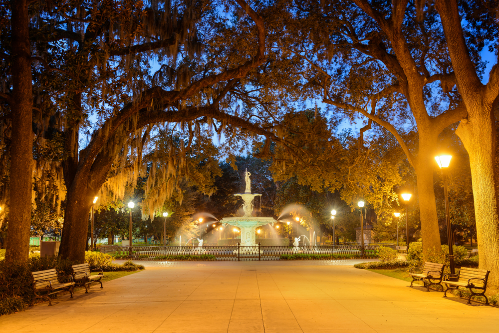 The Forsyth Park fountain is eerie at night during ghost tours in Savannah.