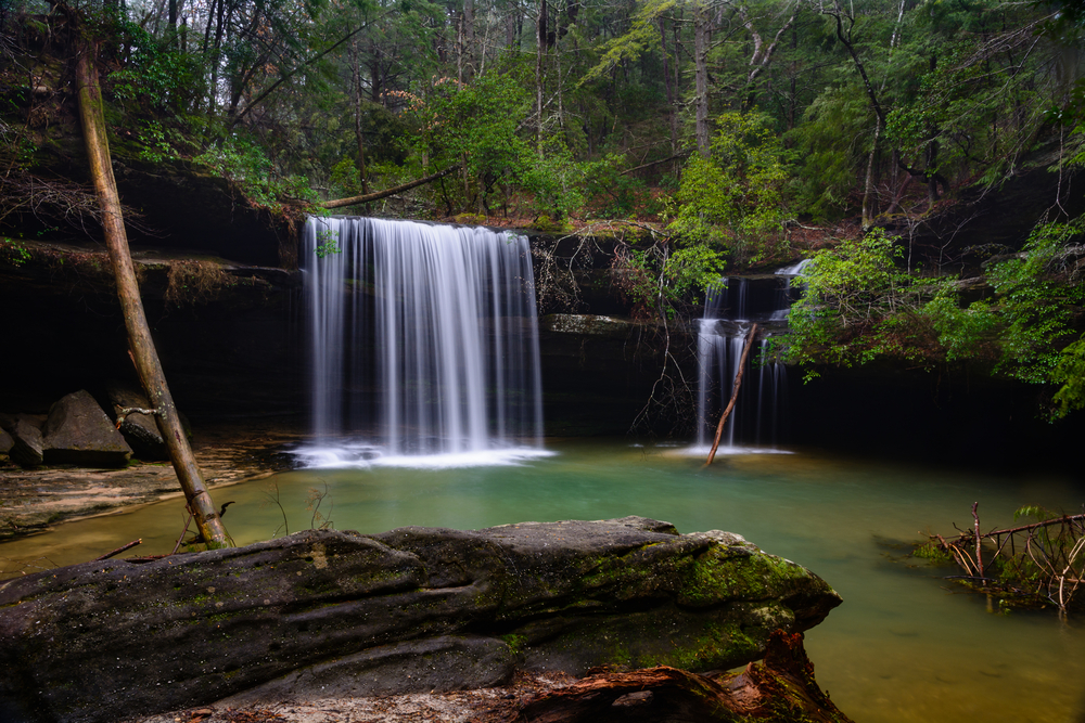Photo of Caney Creek Falls, one of the prettiest waterfalls in Alabama.