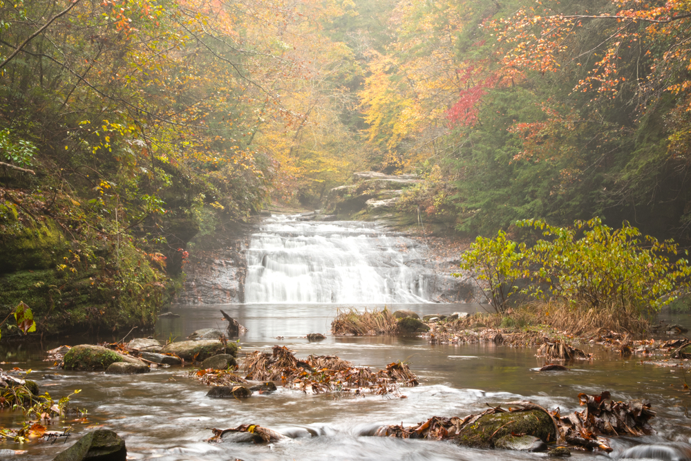 Photo of Kinlock Falls located inside Bankhead National Forest, one of the prettiest waterfalls in Alabama