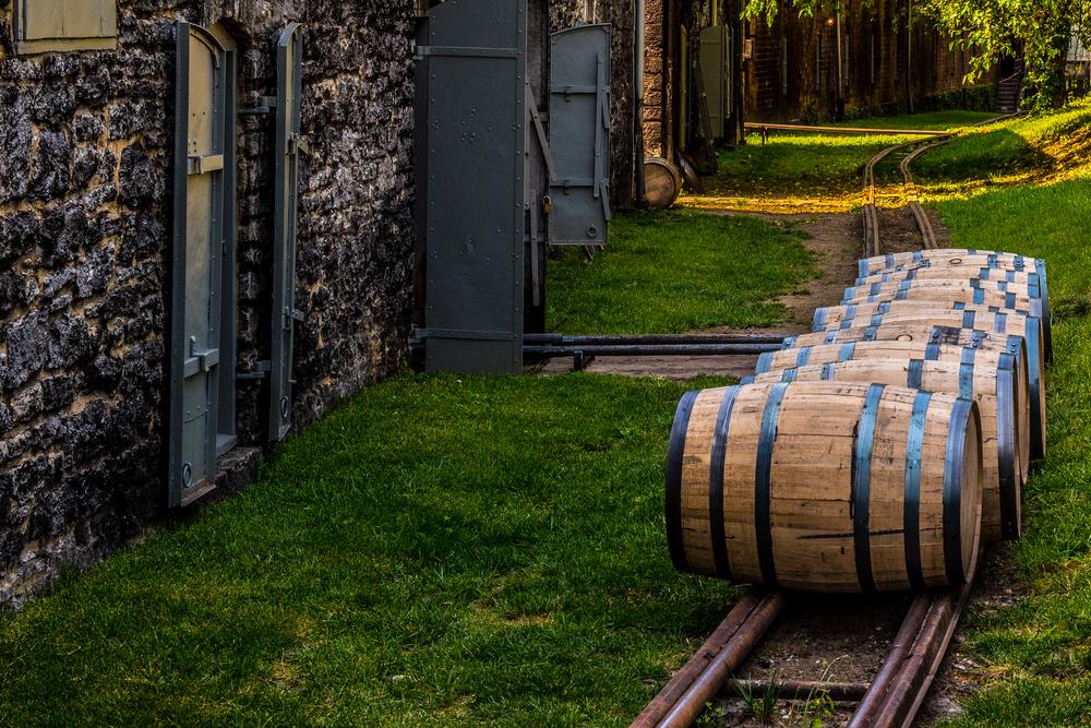 Bourbon Barrels on a track for transport