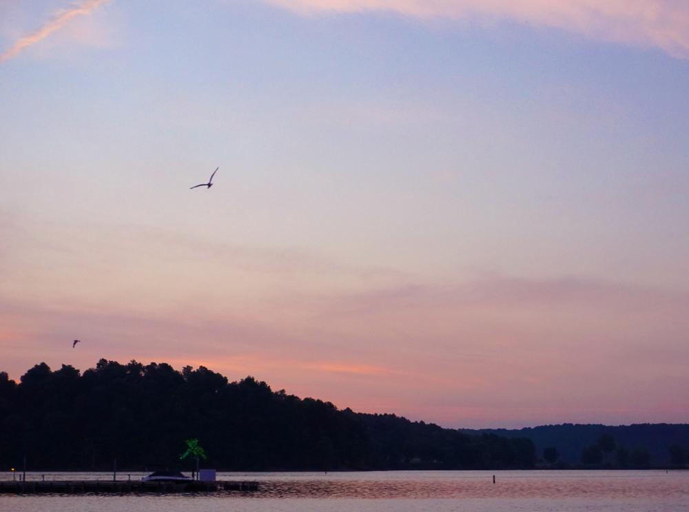 A hazy sunrise at Lake Barkley State Resort Park Beach